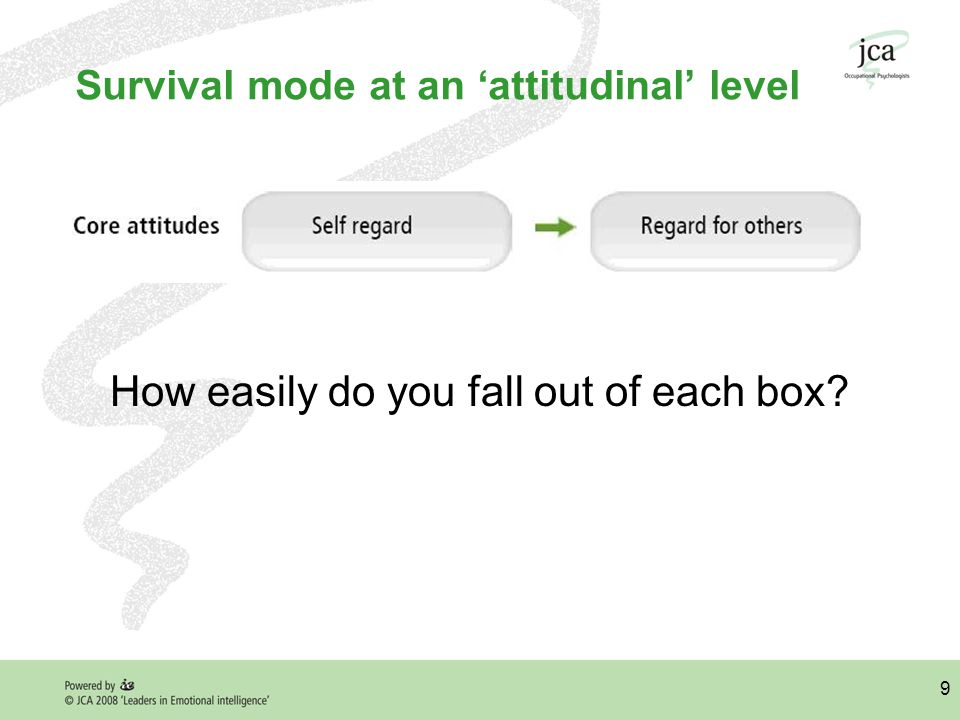 9 Survival mode at an 'attitudinal' level How easily do you fall out of each box