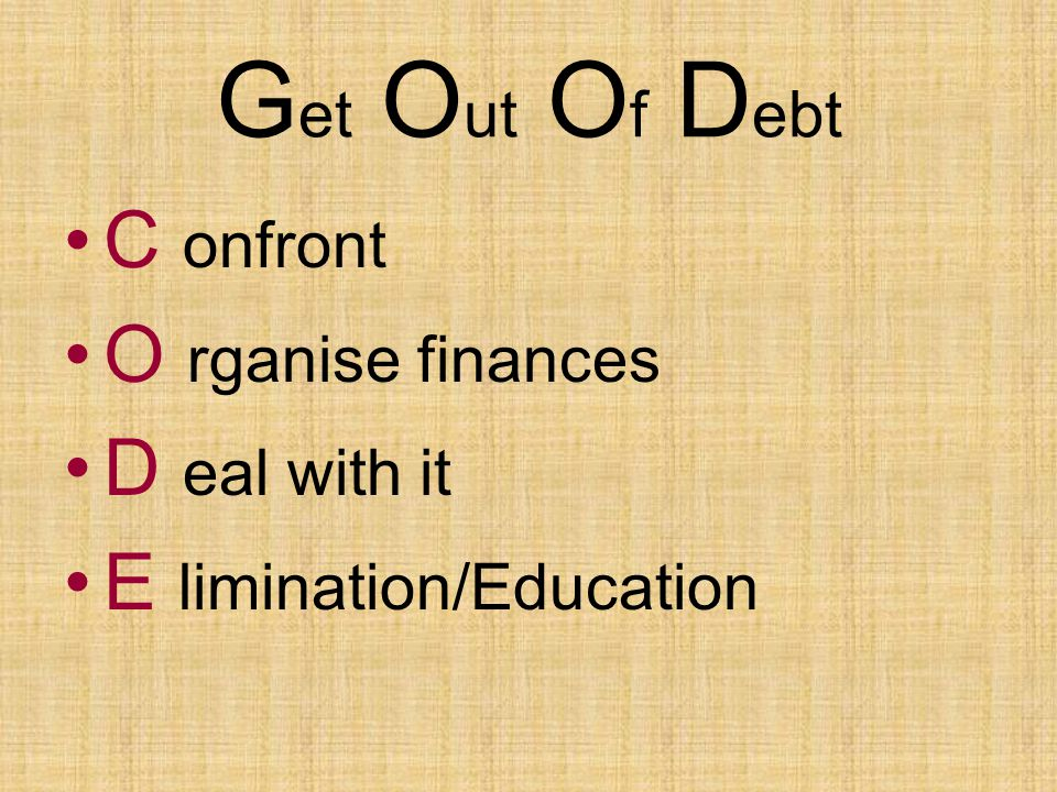 G et O ut O f D ebt C onfront O rganise finances D eal with it E limination/Education