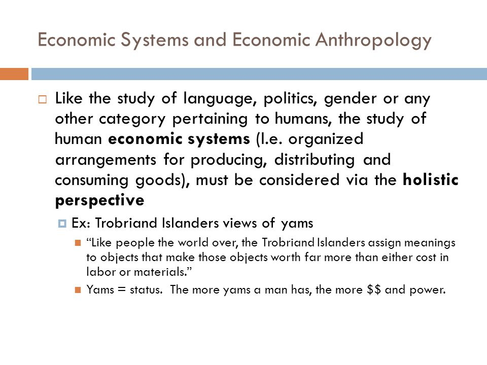 Economic Systems and Economic Anthropology  Like the study of language, politics, gender or any other category pertaining to humans, the study of hum