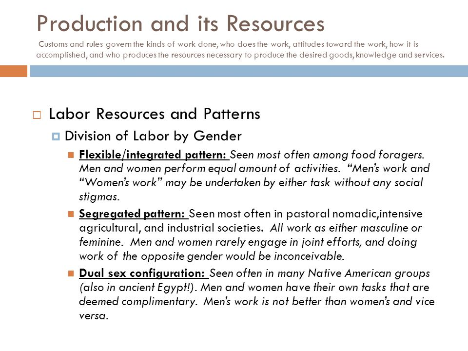  Labor Resources and Patterns  Division of Labor by Gender Flexible/integrated pattern: Seen most often among food foragers. Men and women perform e