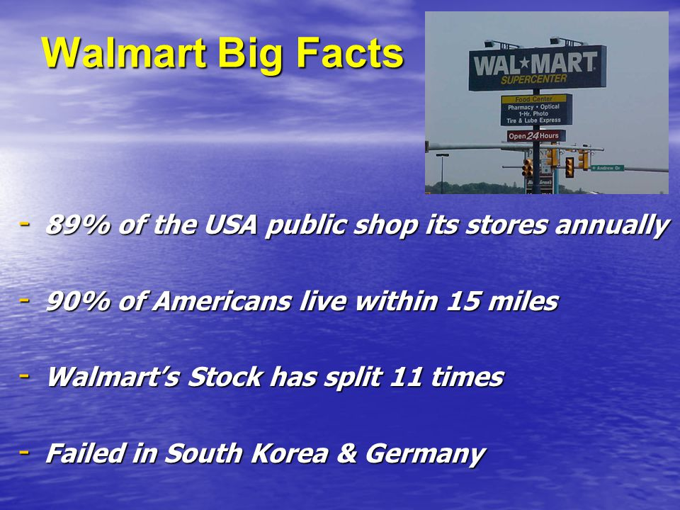 Walmart Big Facts - 89% of the USA public shop its stores annually - 90% of Americans live within 15 miles - Walmart's Stock has split 11 times - Failed in South Korea & Germany