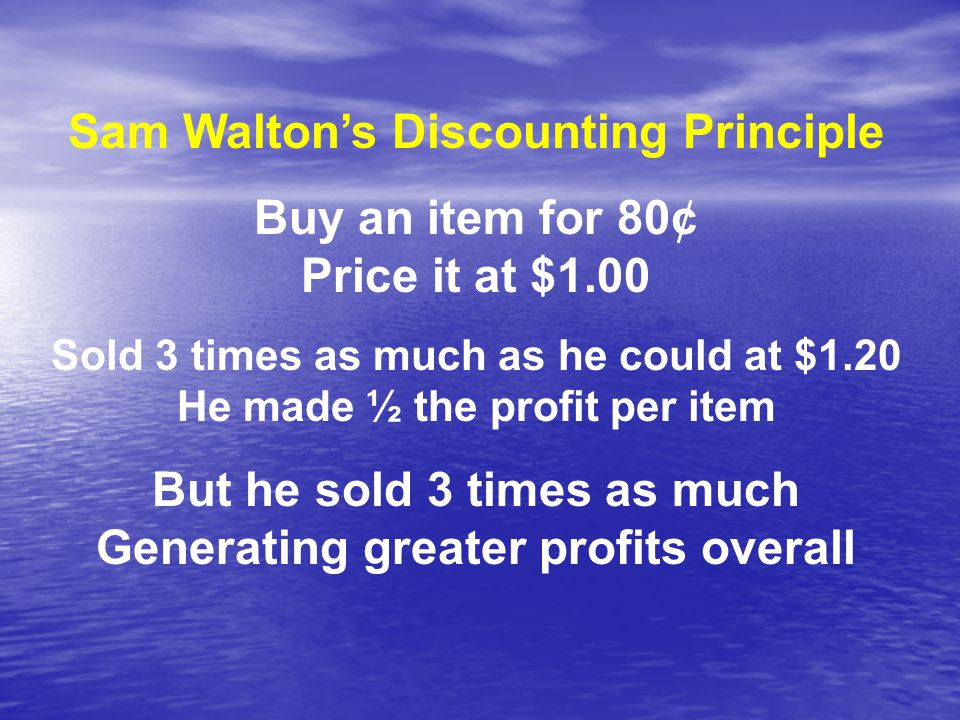 Sam Walton's Discounting Principle Buy an item for 80¢ Price it at $1.00 Sold 3 times as much as he could at $1.20 He made ½ the profit per item But he sold 3 times as much Generating greater profits overall