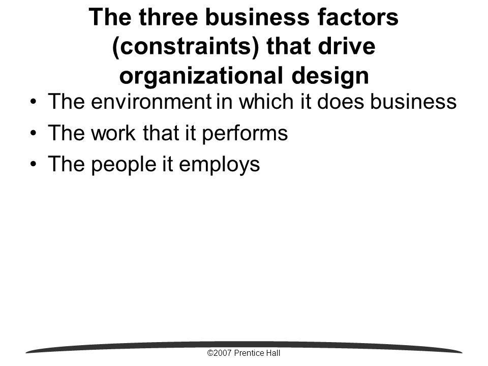 ©2007 Prentice Hall The three business factors (constraints) that drive organizational design The environment in which it does business The work that