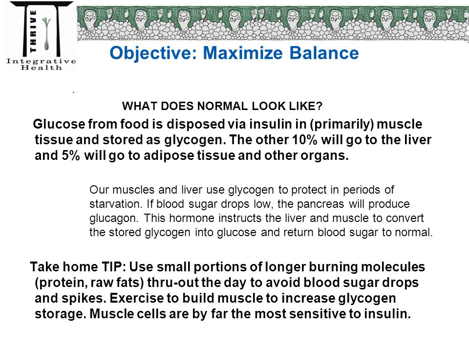 Objective: Maximize Balance. WHAT DOES NORMAL LOOK LIKE? Glucose from food is disposed via insulin in (primarily) muscle tissue and stored as glycogen