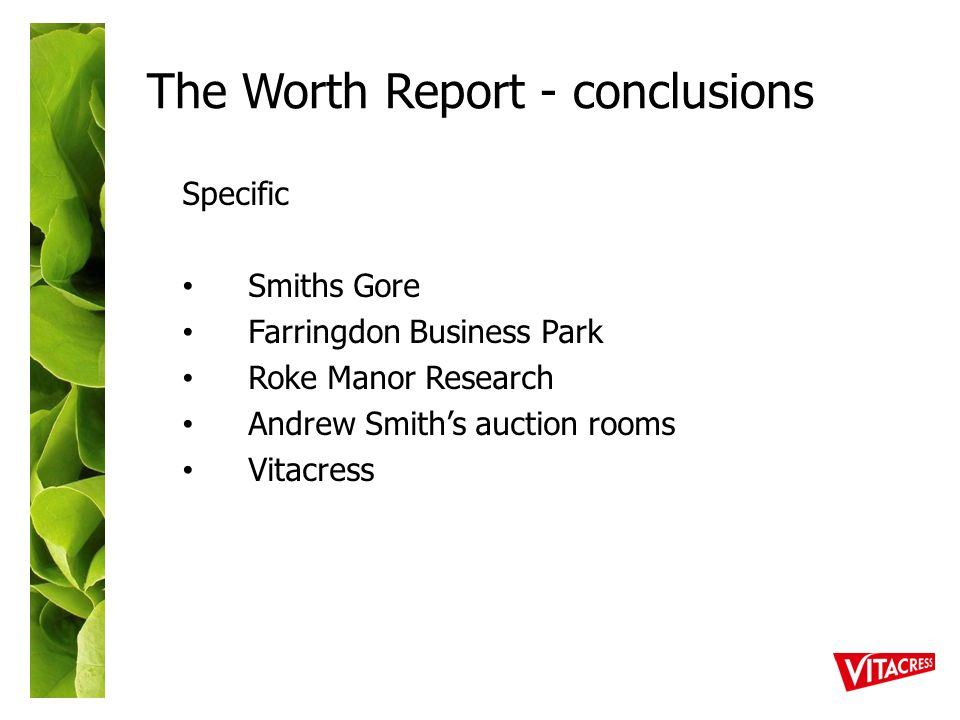The Worth Report - conclusions Specific Smiths Gore Farringdon Business Park Roke Manor Research Andrew Smith's auction rooms Vitacress