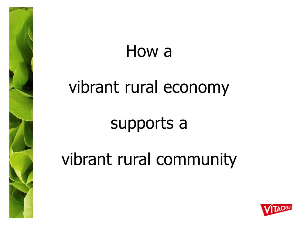 How a vibrant rural economy supports a vibrant rural community