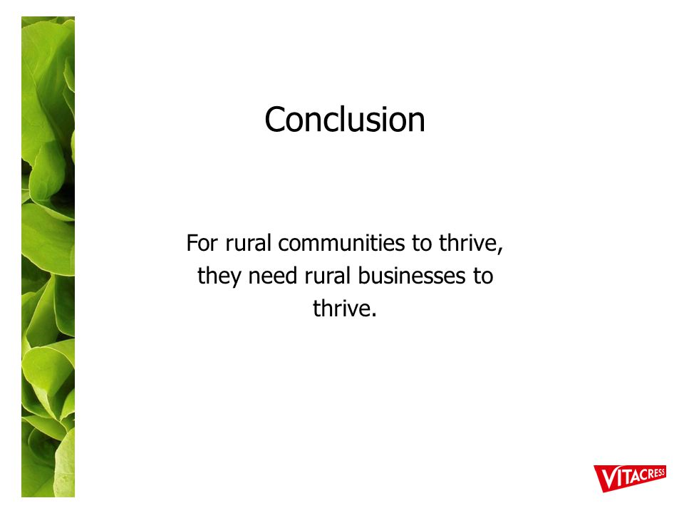 Conclusion For rural communities to thrive, they need rural businesses to thrive.