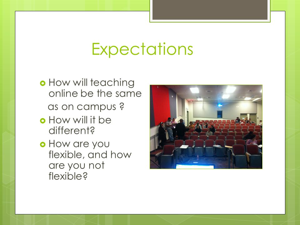 Expectations  How will teaching online be the same as on campus .