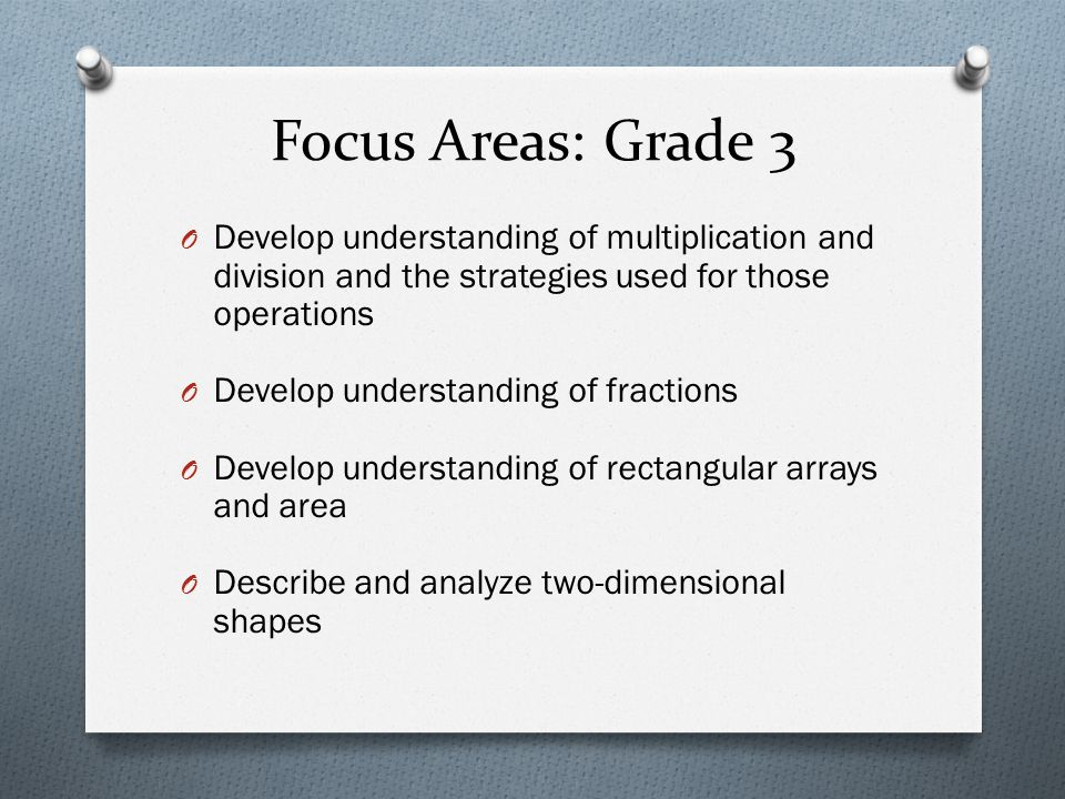 Focus Areas: Grade 3 O Develop understanding of multiplication and division and the strategies used for those operations O Develop understanding of fr