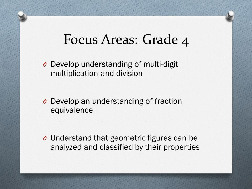 Focus Areas: Grade 4 O Develop understanding of multi-digit multiplication and division O Develop an understanding of fraction equivalence O Understan