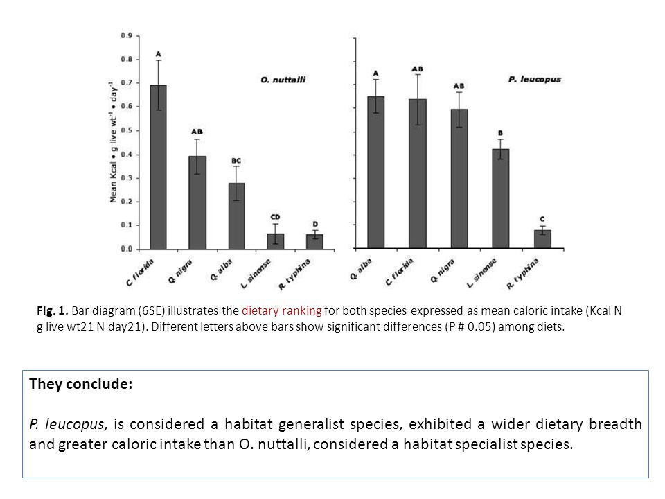Fig. 1. Bar diagram (6SE) illustrates the dietary ranking for both species expressed as mean caloric intake (Kcal N g live wt21 N day21). Different le