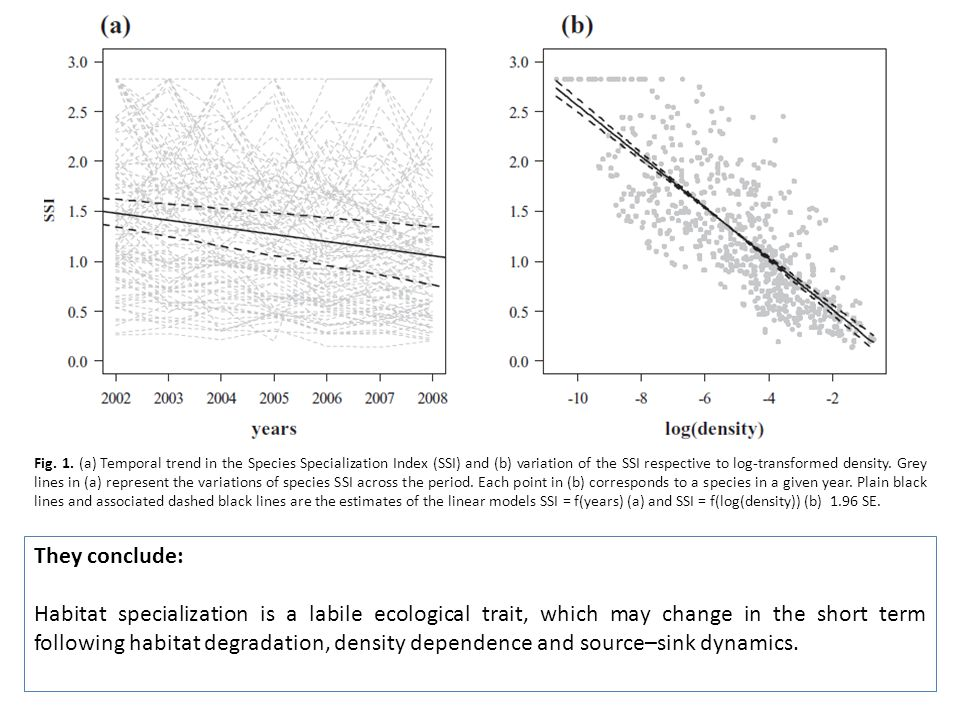 Fig. 1. (a) Temporal trend in the Species Specialization Index (SSI) and (b) variation of the SSI respective to log-transformed density. Grey lines in