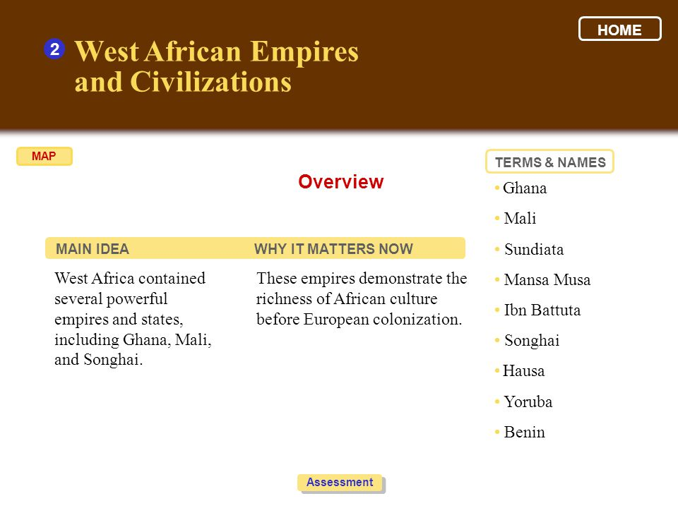 West African Empires and Civilizations 2 1.Look at the graphic to help organize your thoughts.