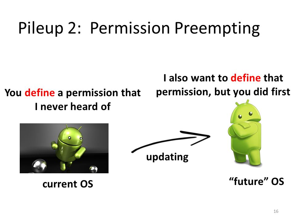 "Pileup 2: Permission Preempting current OS ""future"" OS 16 updating You define a permission that I never heard of I also want to define that permission"