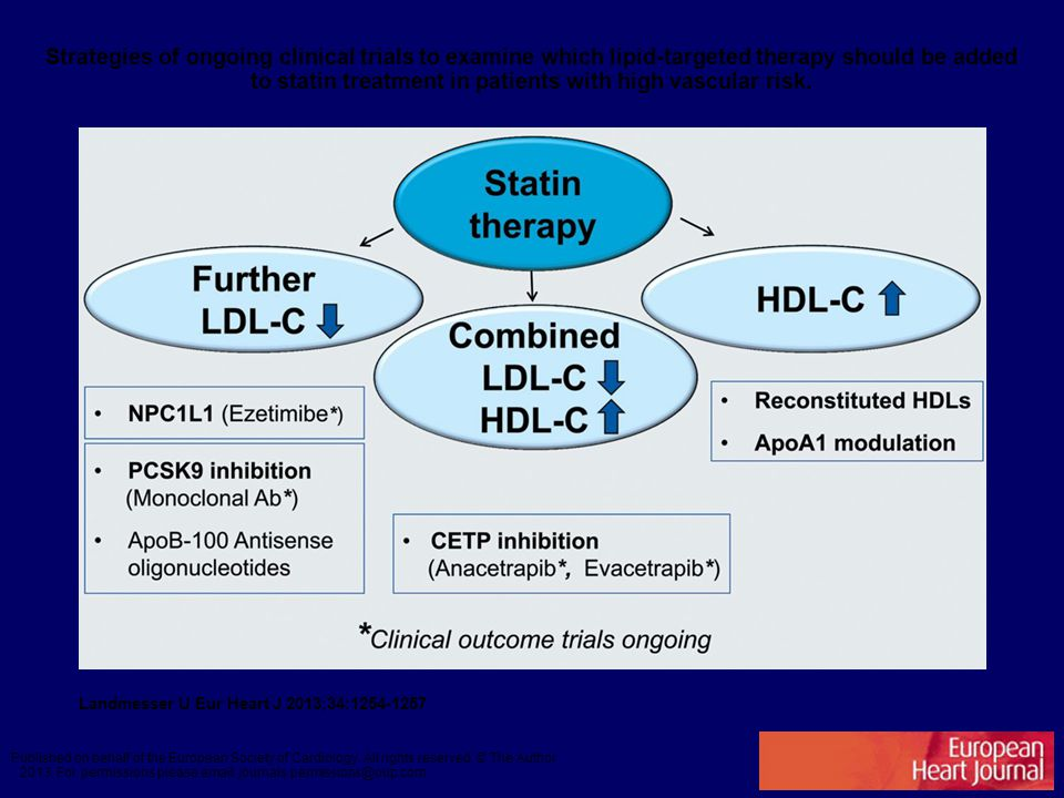 Strategies of ongoing clinical trials to examine which lipid-targeted therapy should be added to statin treatment in patients with high vascular risk.