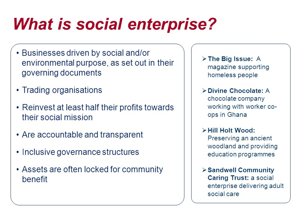 What is social enterprise.