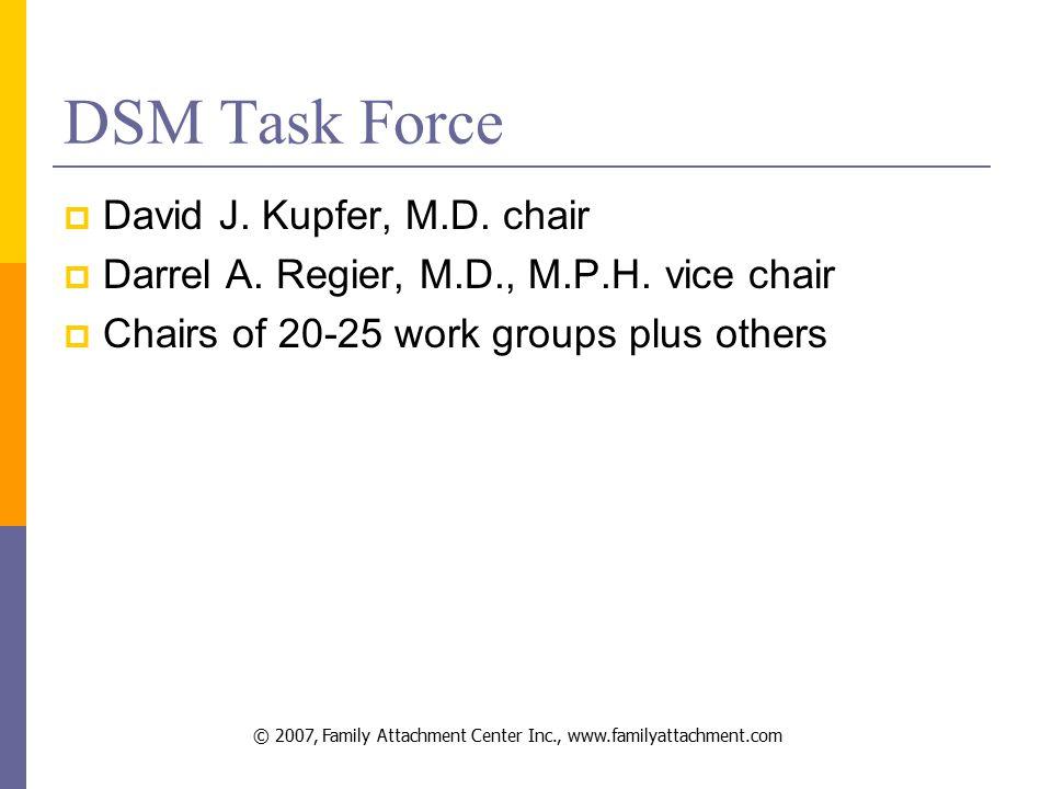 © 2007, Family Attachment Center Inc., www.familyattachment.com DSM Task Force  David J.