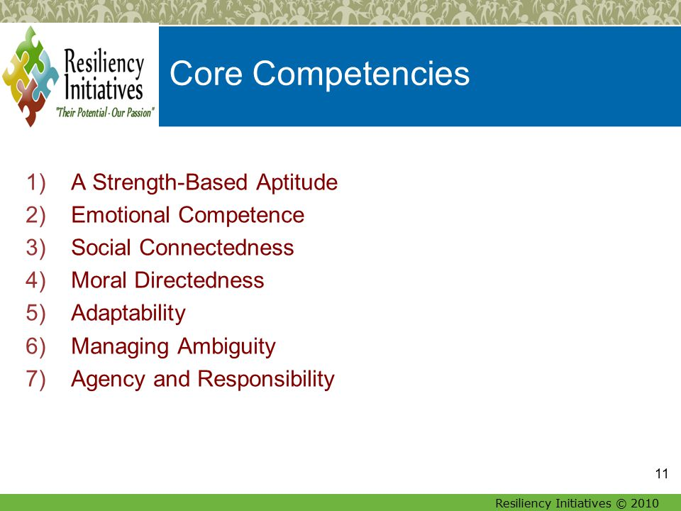 Resiliency Initiatives © 2010 Core Competencies 1)A Strength-Based Aptitude 2)Emotional Competence 3)Social Connectedness 4)Moral Directedness 5)Adaptability 6)Managing Ambiguity 7)Agency and Responsibility 11