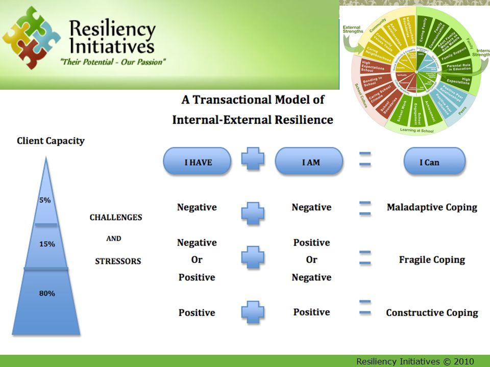 Resiliency Initiatives © 2010 10 The Relationship Between Resilience and Core Competencies: A Model