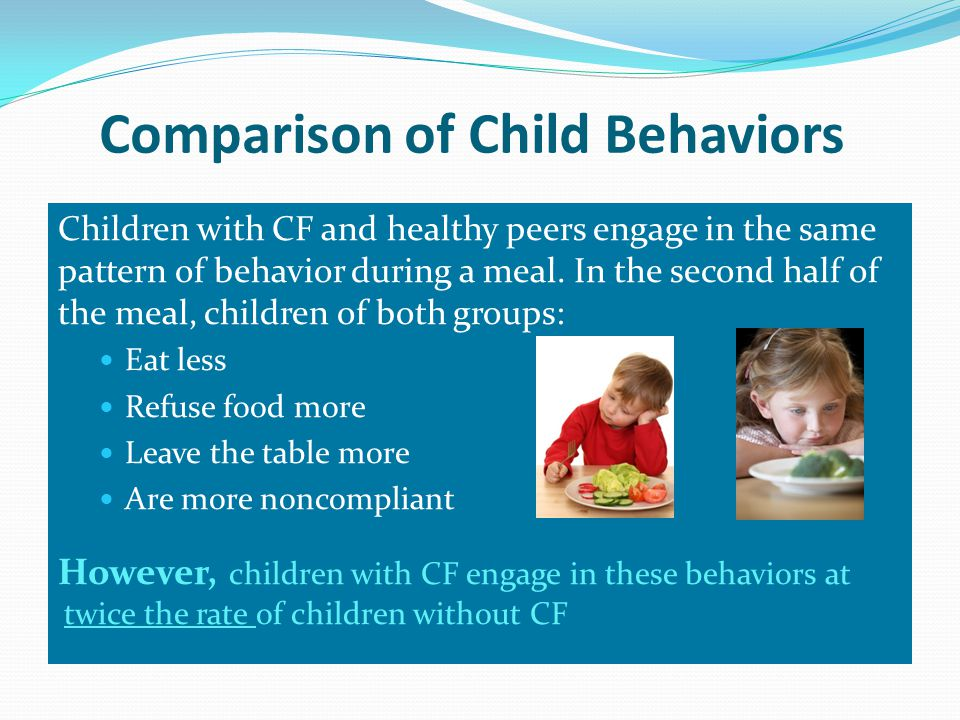 Comparison of Child Behaviors Children with CF and healthy peers engage in the same pattern of behavior during a meal.