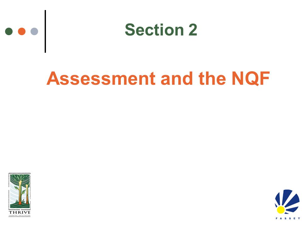 Assessment and the NQF Section 2