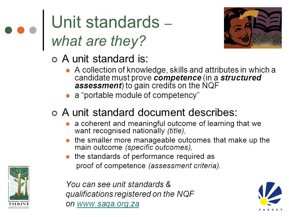 Unit standards – what are they? A unit standard is: A collection of knowledge, skills and attributes in which a candidate must prove competence (in a