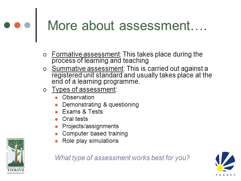 Formative assessment: This takes place during the process of learning and teaching Summative assessment: This is carried out against a registered unit