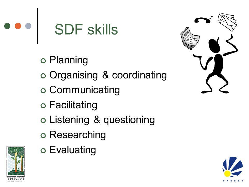 SDF skills Planning Organising & coordinating Communicating Facilitating Listening & questioning Researching Evaluating