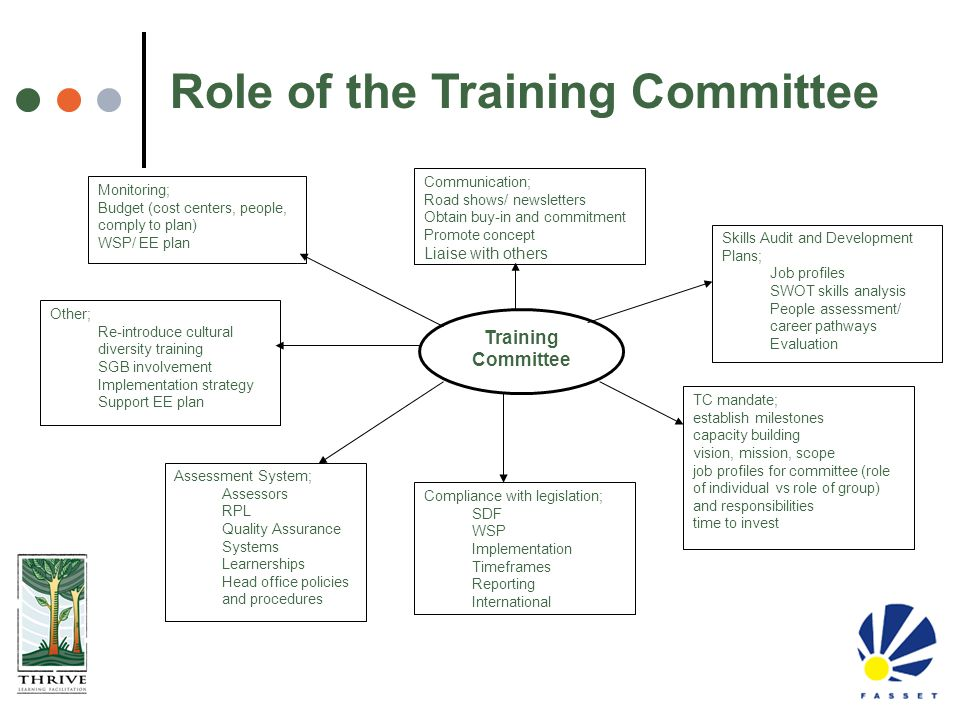 Training Committee Monitoring; Budget (cost centers, people, comply to plan) WSP/ EE plan Communication; Road shows/ newsletters Obtain buy-in and com