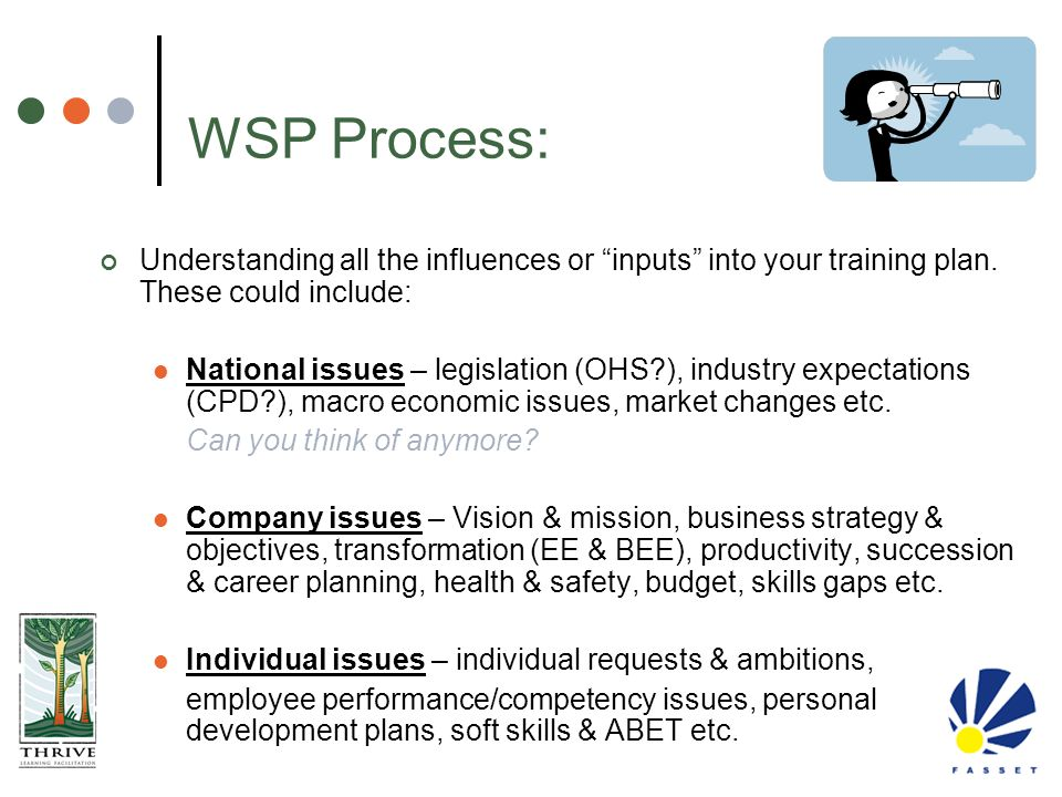 """WSP Process: Understanding all the influences or """"inputs"""" into your training plan. These could include: National issues – legislation (OHS?), industry"""