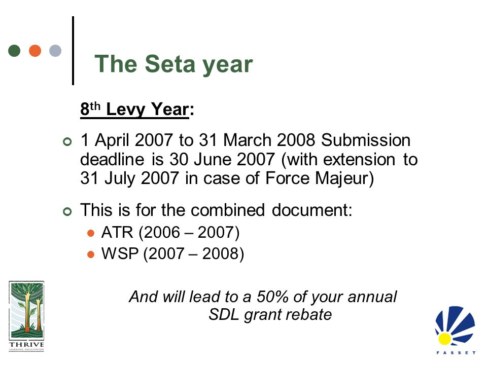 The Seta year 8 th Levy Year: 1 April 2007 to 31 March 2008 Submission deadline is 30 June 2007 (with extension to 31 July 2007 in case of Force Majeu