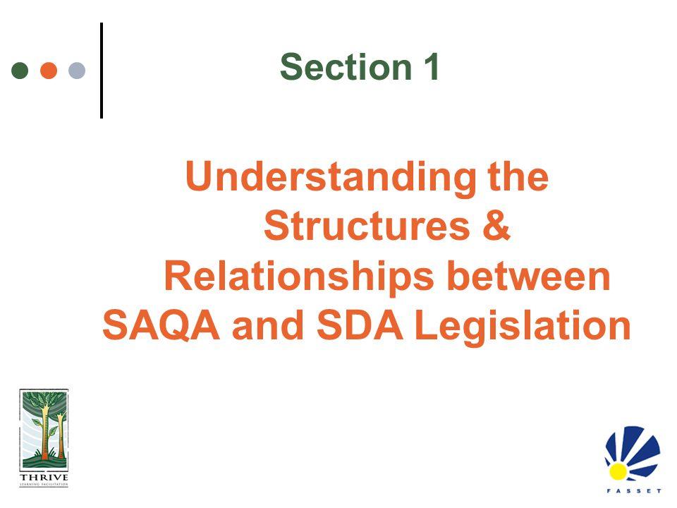 Understanding the Structures & Relationships between SAQA and SDA Legislation Section 1