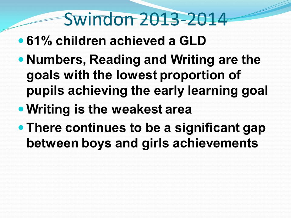 Swindon 2013-2014 61% children achieved a GLD Numbers, Reading and Writing are the goals with the lowest proportion of pupils achieving the early learning goal Writing is the weakest area There continues to be a significant gap between boys and girls achievements