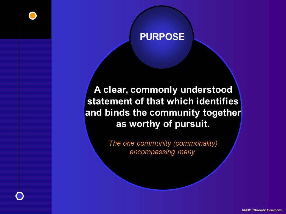PURPOSE A clear, commonly understood statement of that which identifies and binds the community together as worthy of pursuit. Purpose ©2001 Chaordic
