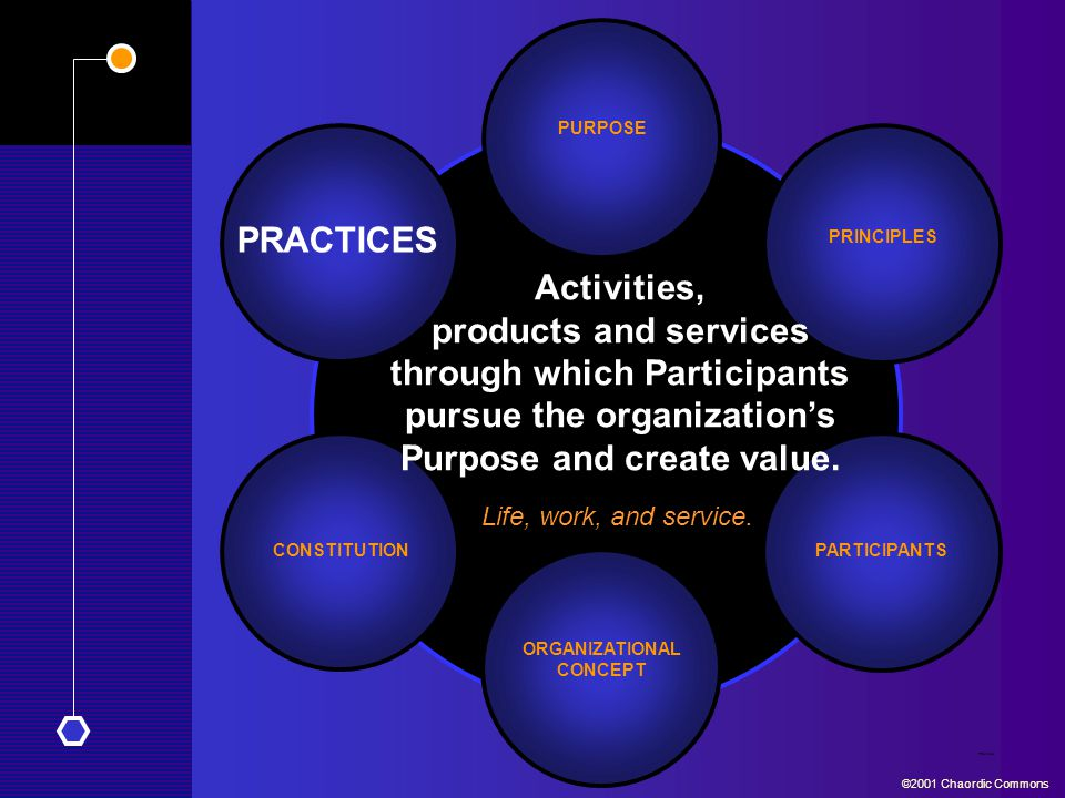 PRACTICES CONSTITUTION PURPOSE PARTICIPANTS Practices ©2001 Chaordic Commons PRINCIPLES ORGANIZATIONAL CONCEPT Activities, products and services through which Participants pursue the organization's Purpose and create value.