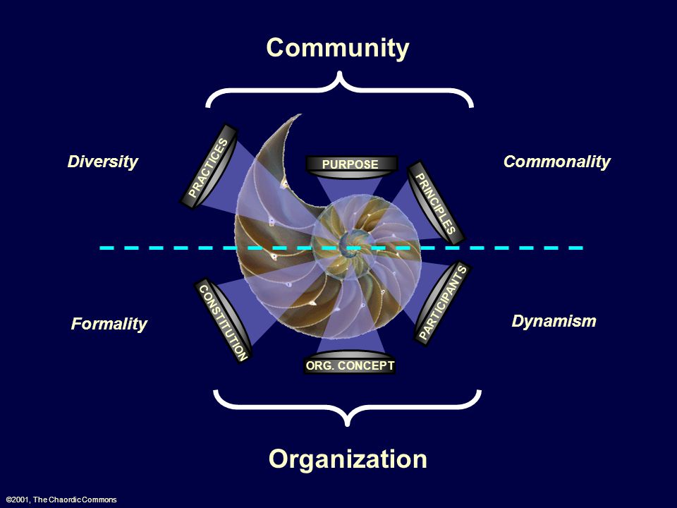 PARTICIPANTS CONSTITUTION ORG. CONCEPT PRACTICES PRINCIPLES PURPOSE Community Organization ©2001, The Chaordic Commons Diversity Commonality Formality