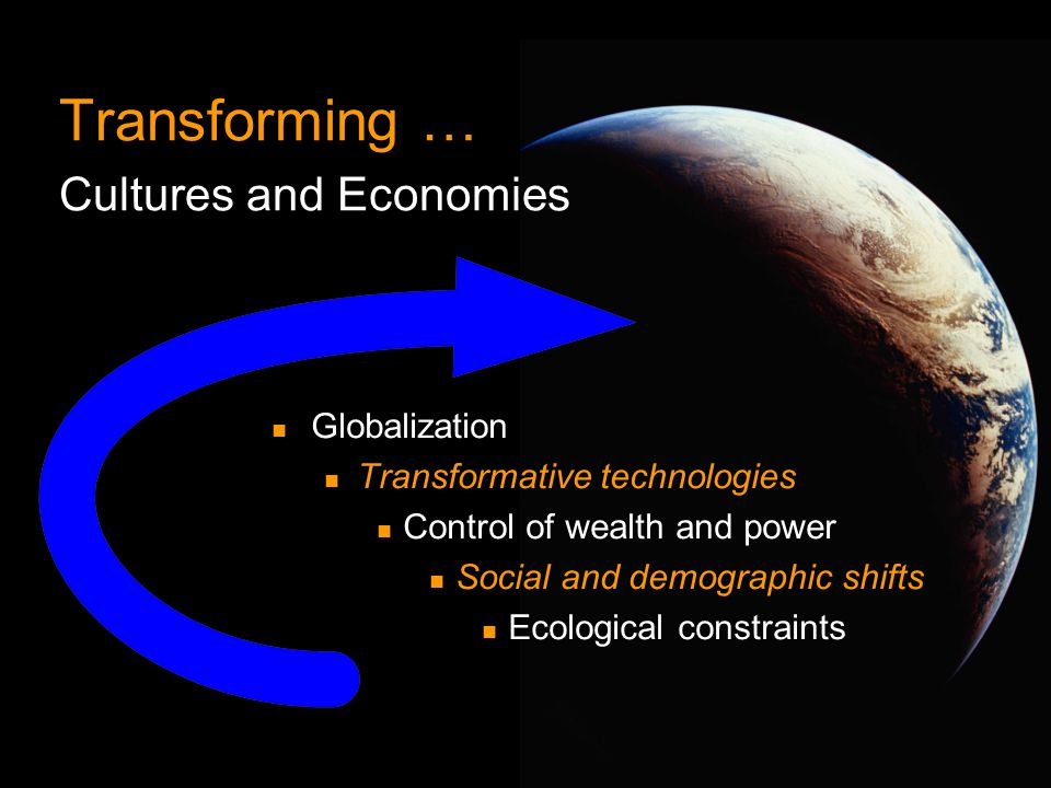 ©2001, Chaordic Commons Globalization Transformative technologies Control of wealth and power Social and demographic shifts Ecological constraints Tra