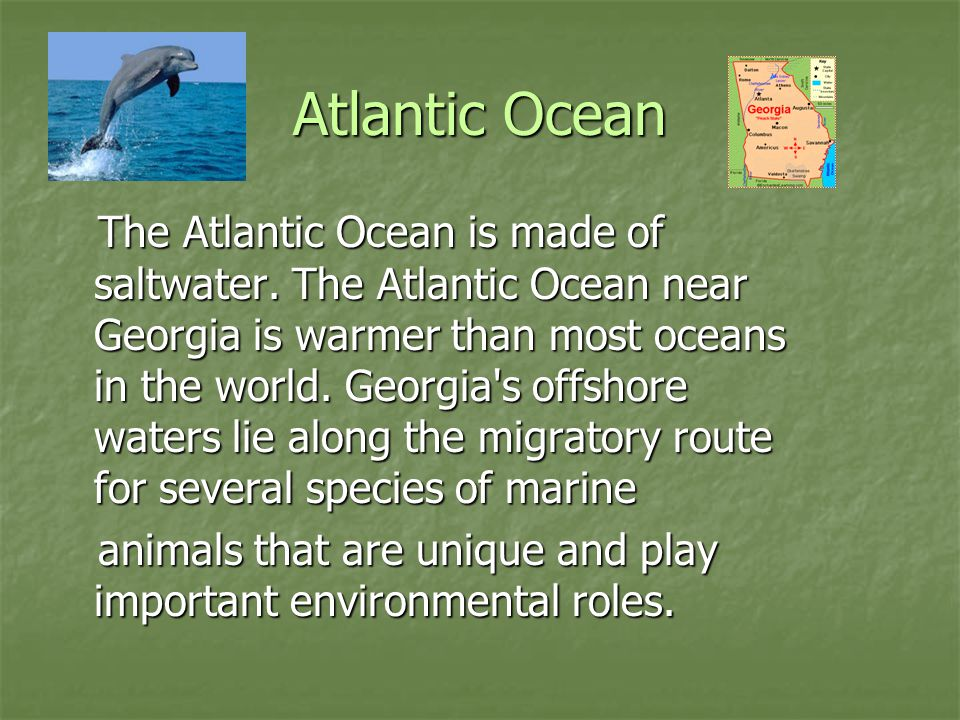Atlantic Ocean The Atlantic Ocean is made of saltwater. The Atlantic Ocean near Georgia is warmer than most oceans in the world. Georgia's offshore wa