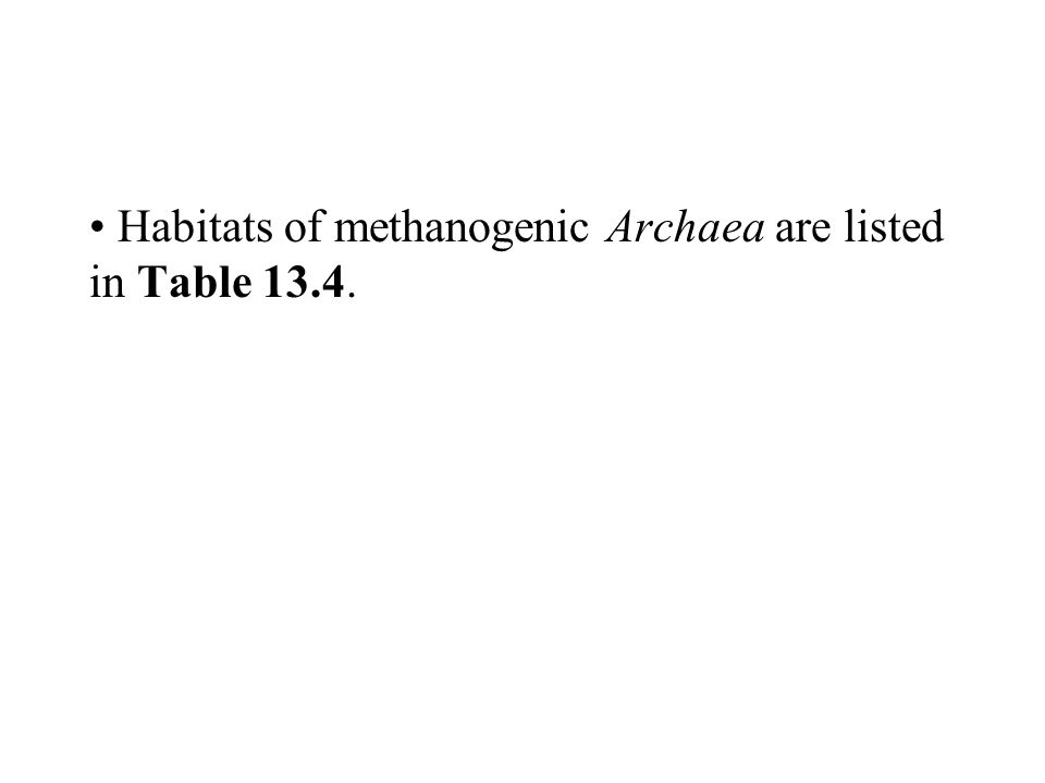 Habitats of methanogenic Archaea are listed in Table 13.4.