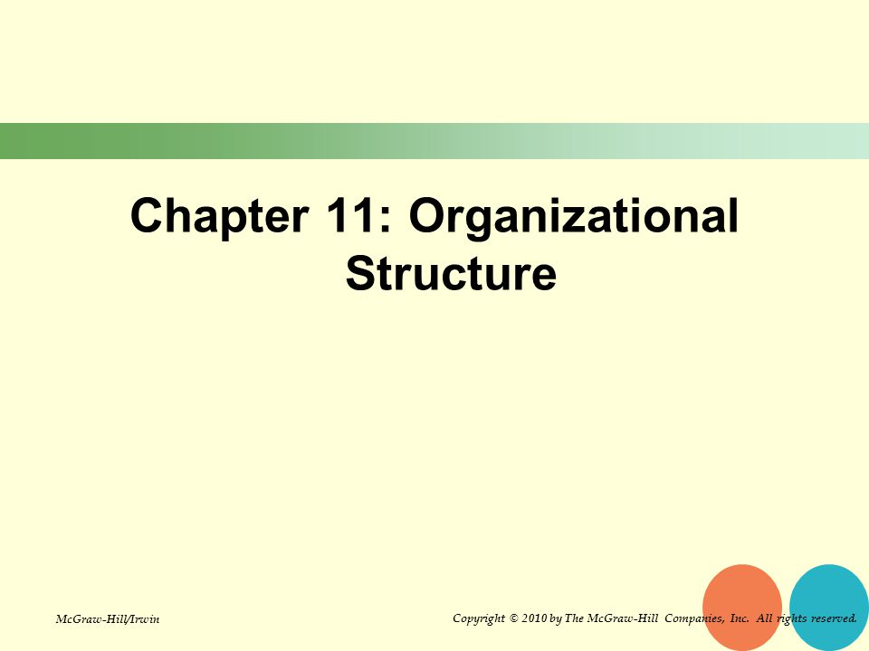 Chapter 11: Organizational Structure Copyright © 2010 by The McGraw-Hill Companies, Inc.