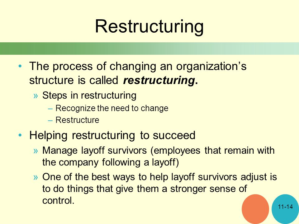 Restructuring The process of changing an organization's structure is called restructuring.