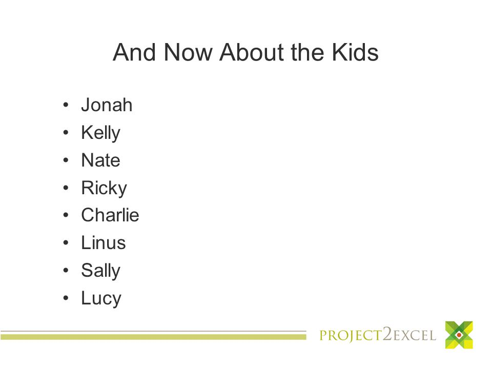 And Now About the Kids Jonah Kelly Nate Ricky Charlie Linus Sally Lucy