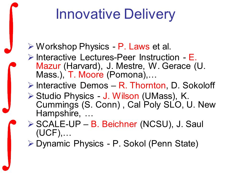 Innovative Delivery  Workshop Physics - P. Laws et al.
