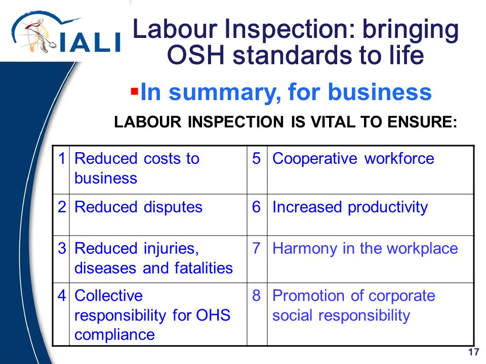 17 Labour Inspection: bringing OSH standards to life LABOUR INSPECTION IS VITAL TO ENSURE:  In summary, for business 1Reduced costs to business 5Cooperative workforce 2Reduced disputes6Increased productivity 3Reduced injuries, diseases and fatalities 7Harmony in the workplace 4Collective responsibility for OHS compliance 8Promotion of corporate social responsibility