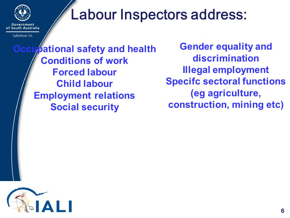 6 Labour Inspectors address: Occupational safety and health Conditions of work Forced labour Child labour Employment relations Social security Gender equality and discrimination Illegal employment Specifc sectoral functions (eg agriculture, construction, mining etc)