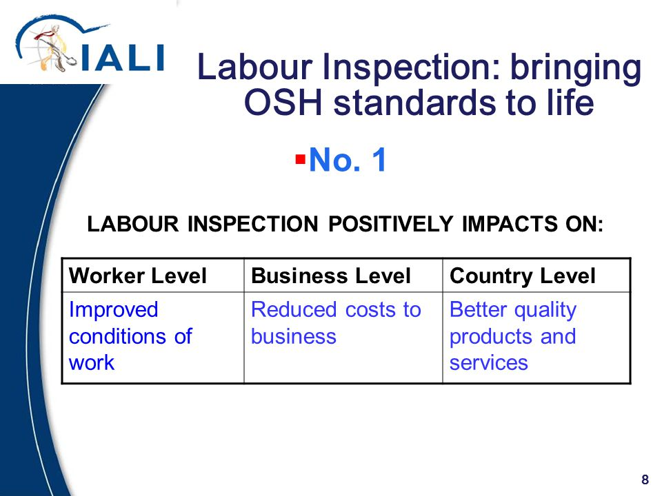 8 Labour Inspection: bringing OSH standards to life Worker LevelBusiness LevelCountry Level Improved conditions of work Reduced costs to business Better quality products and services LABOUR INSPECTION POSITIVELY IMPACTS ON:  No.
