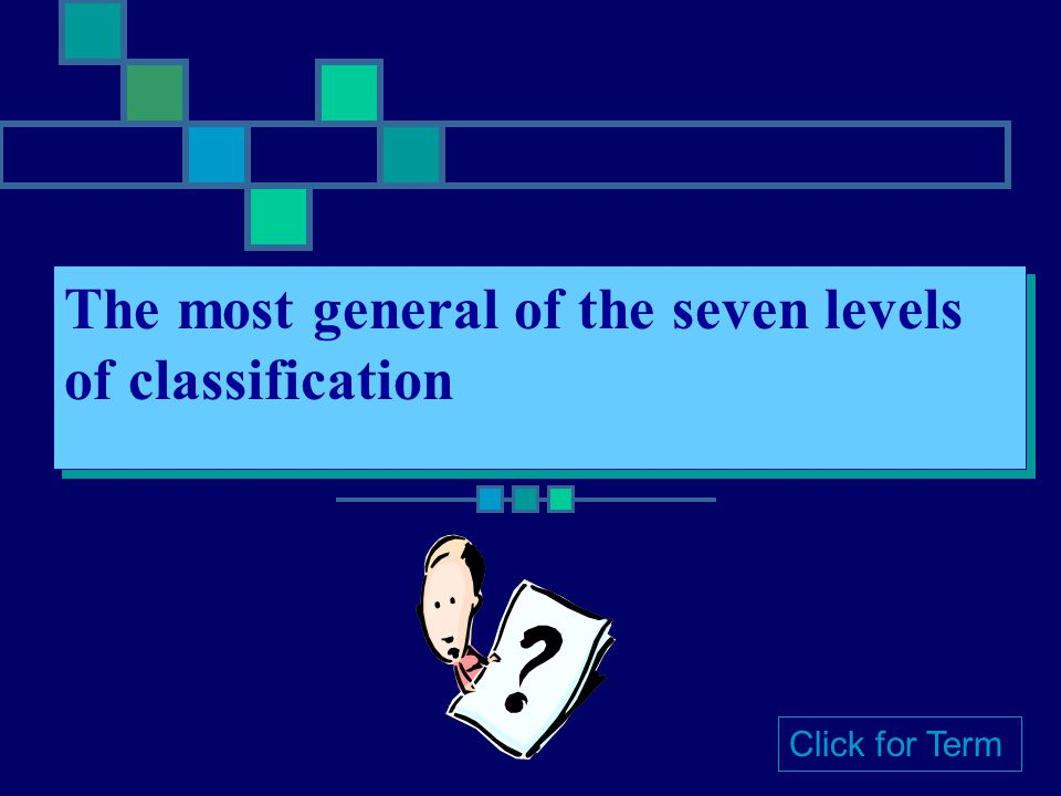 The most general of the seven levels of classification Click for Term