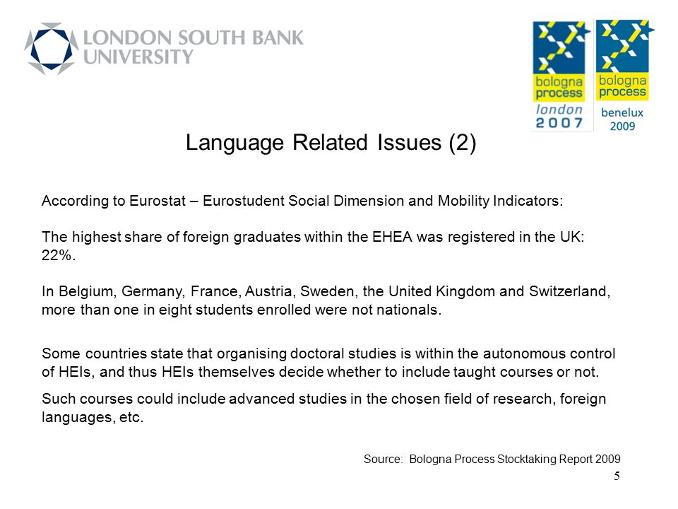 6 Language Related Issues (3) HEIs should consider mobility of students, researchers and staff an integral part of their institutional strategies.