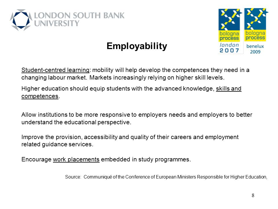 9 Report from the Working Group on Employability: The report takes forward the request to consider how to improve employability in higher education.