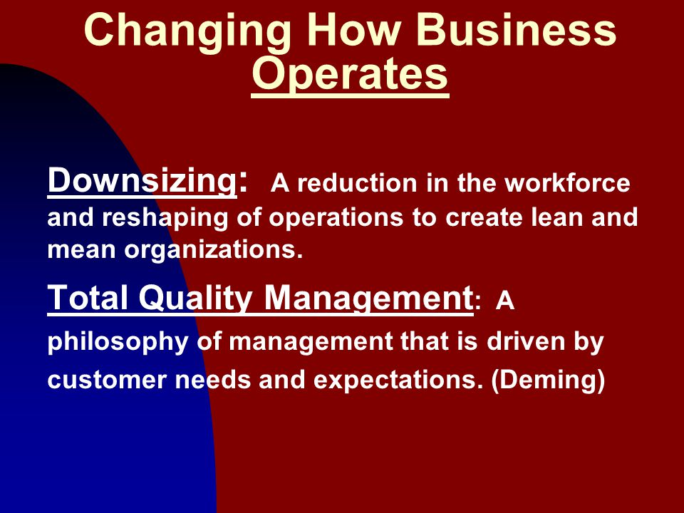 5 Changing How Business Operates Downsizing : A reduction in the workforce and reshaping of operations to create lean and mean organizations. Total Qu